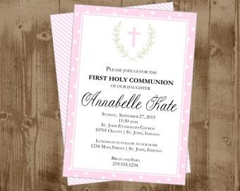 Girl Baptsim Christening  or First Holy Communion - Cross -  Printable Invitation - Pink Cross