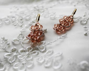 Bridal Jewelry Wedding Earrings Champagne Drops Summer Unique Gifts Trending Accessory Beige Delicate For Her Shining Rose Gold Earrings