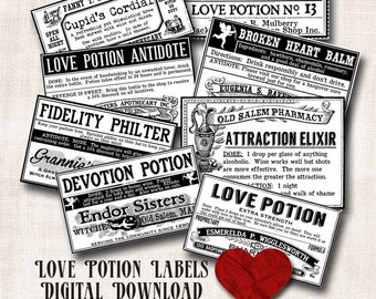 Witch Love Potion Bottle Apothecary Jar Labels Digital Download Printable Aged Halloween Vintage Tag Image Clip Art Scrapbook Collage Sheet
