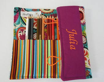 Personalized Pencil Roll - Paisley, colored pencil organizer, custom pencil case, pencil roll, 24 colored pencils