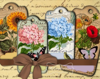Shabby Chic Vintage Botanical Flowers Labels Tags Digital Collage Sheets Digital Flower Images  ATC ACEO Instant Download