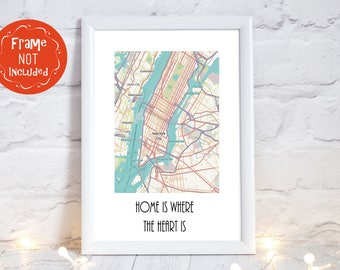 New York Print, New York Gift, New York Map, New York City, Central Park Map, Central Park Prints,travellers gift, PRINT ONLY