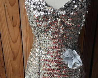 Silver Sequin Strapless Boned Top With Silver Flower Appliqué