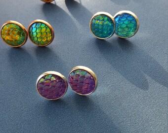 Dragon and Mermaid scale stud earrings.