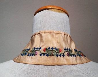 Antique Edwardian Silk Cross Stitch Collar, c. 1910