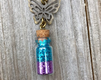 Glitter Bottle Necklace, Blue and Purple Glitter Necklace, Glass Vial Necklace, Blue and Purple Glitter Bottle, Butterfly Necklace