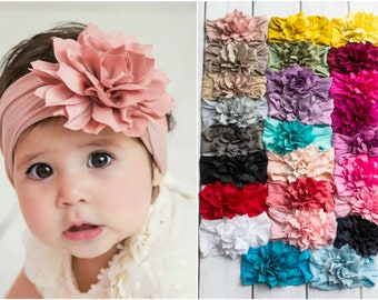 Flower Nylon baby Headband, One size fits all nylon headbands, wide nylon headbands, baby headbands, flower Nylon baby Head wrap, hair bows