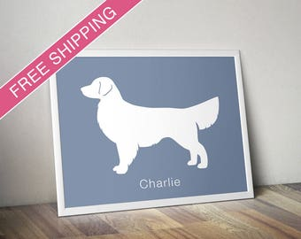Personalized Golden Retriever Silhouette Print with Custom Name (version 1) - Dog poster, dog art, dog gift