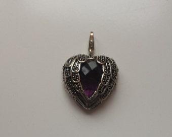 Purple feather heart pendant charm silver