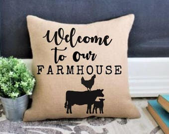 Welcome home, farmhouse pillow cover, rustic pillow cover, rustic fall decor, burlap pillow, farmhouse sweet farmhouse; Modern Farmhouse