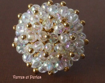 White and gold pompon ring