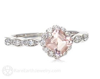 Platinum Asscher Morganite Engagement Ring Morganite Ring White Sapphire Halo Custom Bridal Jewelry