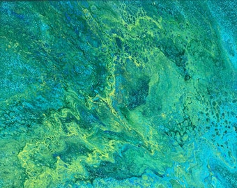One of a kind Acrylic Pour of Green, Turquoise, Blue with Glitter