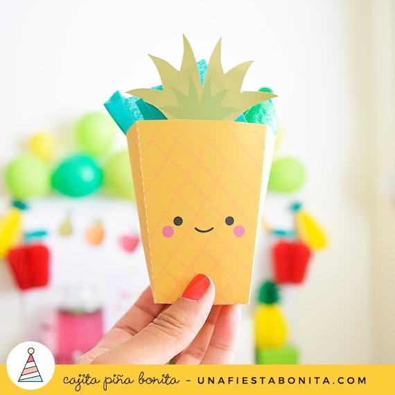 Cajita para imprimir piña Pineapple little box popcorn box