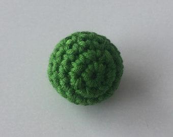 Perle BOIS green crocheted 2.3 cm