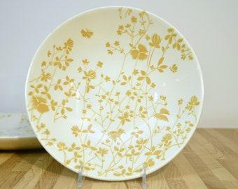 Midcentury goldene Wiese Muster Sheffield China Ironstone Schüssel