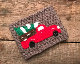 Old Fashioned Christmas Coffee Cozy / Reusable Cozy / Crochet Coffee Sleeve