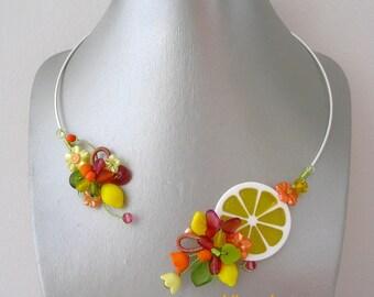 Jewelry designer necklace and yellow orange Citrus