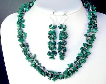 Set of Malachite Chip Beads Chained Dangle NSMA1505