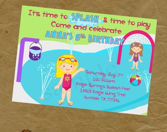 Girls Splash Pad Birthday Party Invitation - Digital Personalized File to Print