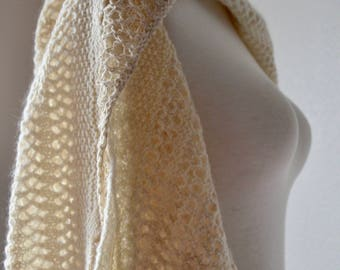 Winter Wedding Shawl - Fine Hand Knit Rustic Romantic Folk Wrap in Lace and Luxury Natural Fibers - Cream White Wool, Angora