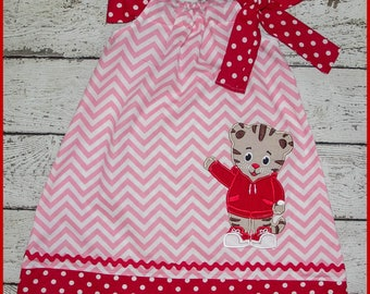Cute Daniel the Tiger  Pillowcase style dress Pink Chevron and red polka dot