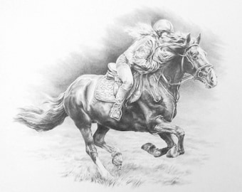 Horse and rider drawing (commission)