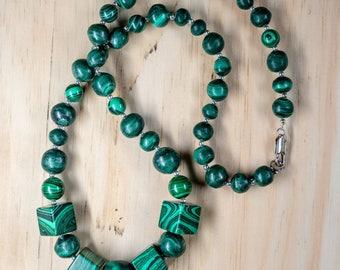 Malachite Necklace, Slytherin Necklace, Dark Green Necklace, Slytherin Gift, St Patricks Day Gift, Charity Necklace, Charity Donation