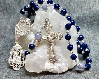 SALE Rosary Blue Lapis, Chalcedony, Eucharist center, St Anne/Child Mary medal, Sterling Silver Hand Cast Crucifix, HeartFelt Rosaries