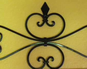 Fleur de Lis Metal Wall Decor/ Scrolled Wrought Iron Wall Hanging /Black or Pick Color/Spanish Style/ Metal Scrolled Wall Art/Indoor Outdoor