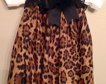 Custom Boutique Handmade Ruffled Leopard / Cheetah Baby Gown Preemie, Newborn, 0-3 mo