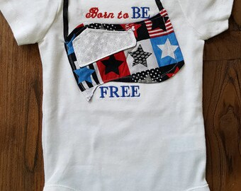 All American Girl Born to be Free Bodysuit, Baby Onesie, Baby Girl Onesie, Custom Baby Onesie, All American Apparel, All American Clothing
