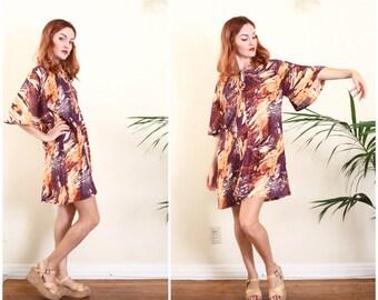 70s boho dress   autumn mini dress   fall boho clothing   bell sleeve tent dress   babydoll dress [ medium ]