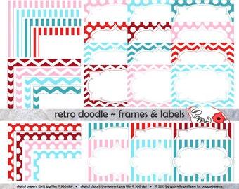 Retro Doodle Frames & Labels: Clip Art Pack Card Making Digital Frames Page Borders Chevron Dots Stripes