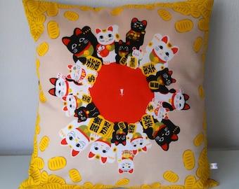 Maneki Neko lucky cat japanese fabric cotton canvas cushion cover 20x20 inches 50x50 cm
