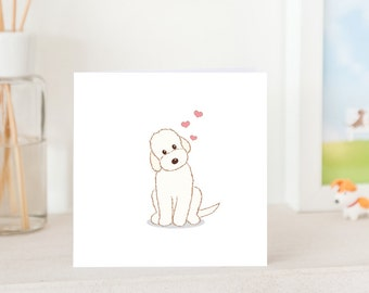 Dog Greeting Card - White Labradoodle with Love, Labradoodle card, Cute Card for Labradoodle lover, Dog card, Labradoodle Love You Card