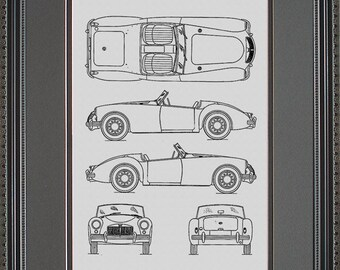 Jaguar blueprint collection drawing art car auto gift mg blueprint framed art car auto gift bmgab malvernweather Choice Image