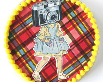Camera Girl Collage on Wood