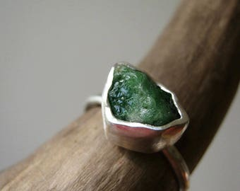 On Sale 10% !!!  Rough -Raw- Emerald Ring - in Sterling and Pure Silver - Custom size - Choose your stone - UPDATED NEW GEMSTONES !