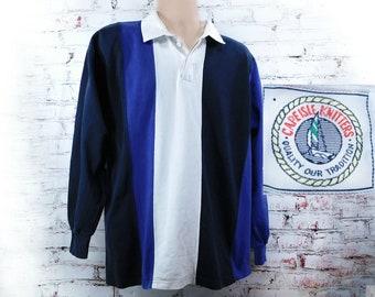 Striped Polo shirt -Rugby shirt men -90's knit shirt men -blue knit shirt, collared knit shirt, long sleeve shirt ,size X L (X large), # 85