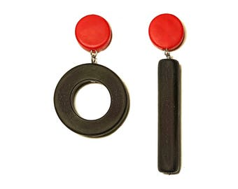 black and red earrings, asymmetrical statement  jewelry, hypoallergenic dangle studs, handmade by Frank Ideas