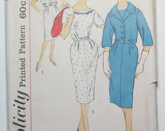 Dress Rounded Notch Trimmed Neckline Slim Skirt With Back Kick Pleat Lined Waist Length Jacket Size 14 1/2 Sewing Pattern Simplicity 3308