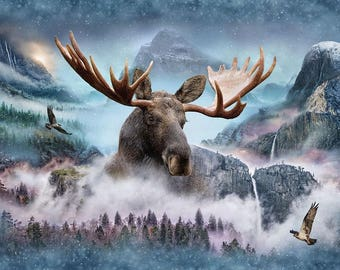 "Hoffman Fabric Call of the Wild, Moose Waterfall,  Q4428-449 27.5"" x 44""  Digitally Printed Panel.  Free Shipping"