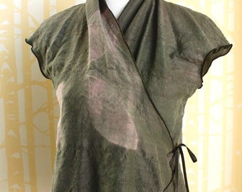 Cricket Wrap Blouse, size LARGE, in shibori-dyed sage green silk with pink accents