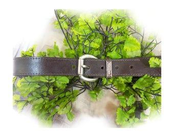 men's brown belt , genuine leather belt - heavy belt - Work belt - silver buckle belt - # B 15