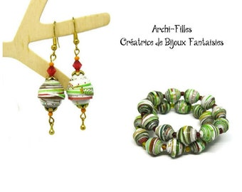 Green recycled paper beads earrings and bracelet,recycled paper jewelry set,strech beaded bracelet,beaded dangling earrings,paper jewelry