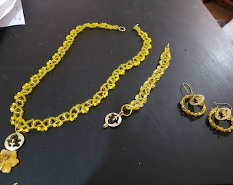 Yellow Goldtone Handmade Jewelry Set Necklace Bracelet Earrings