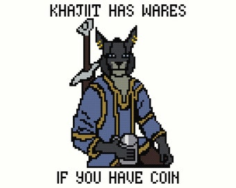 Skyrim Khajiit Has Wares...If You Have Coin Cross-Stitch Pattern