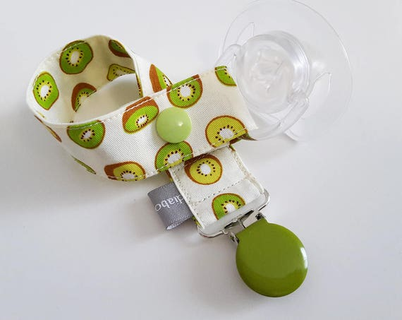Pacifier clip - snap - enamel clip - kiwi - white - green - summer - fruits - cotton - baby boy girl - baby gift - baby shower - dummy