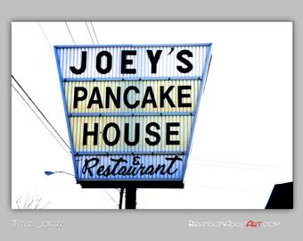 Kitchen Decor, Restaurant Sign Photo, Kitchen Wall Decor, Joey's Pancake House, Lemon Yellow, Flapjacks, Retro Wall Decor